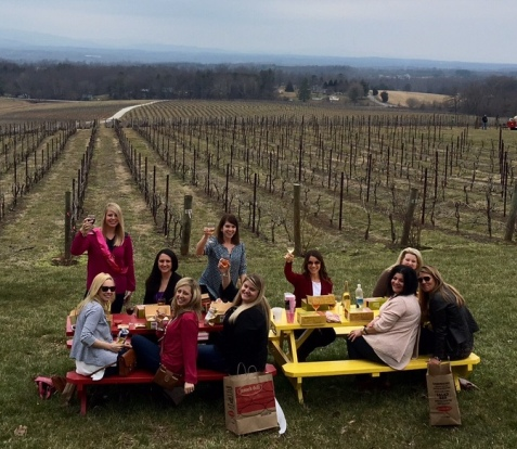 Fun bachelorette party Charlotte, NC wine tasting, winery limo tours